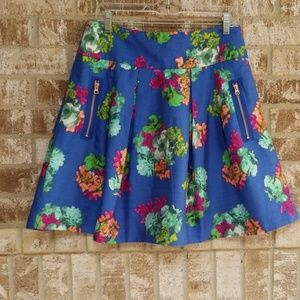 Maeve Anthropologie Blue Floral Skirt Size 12